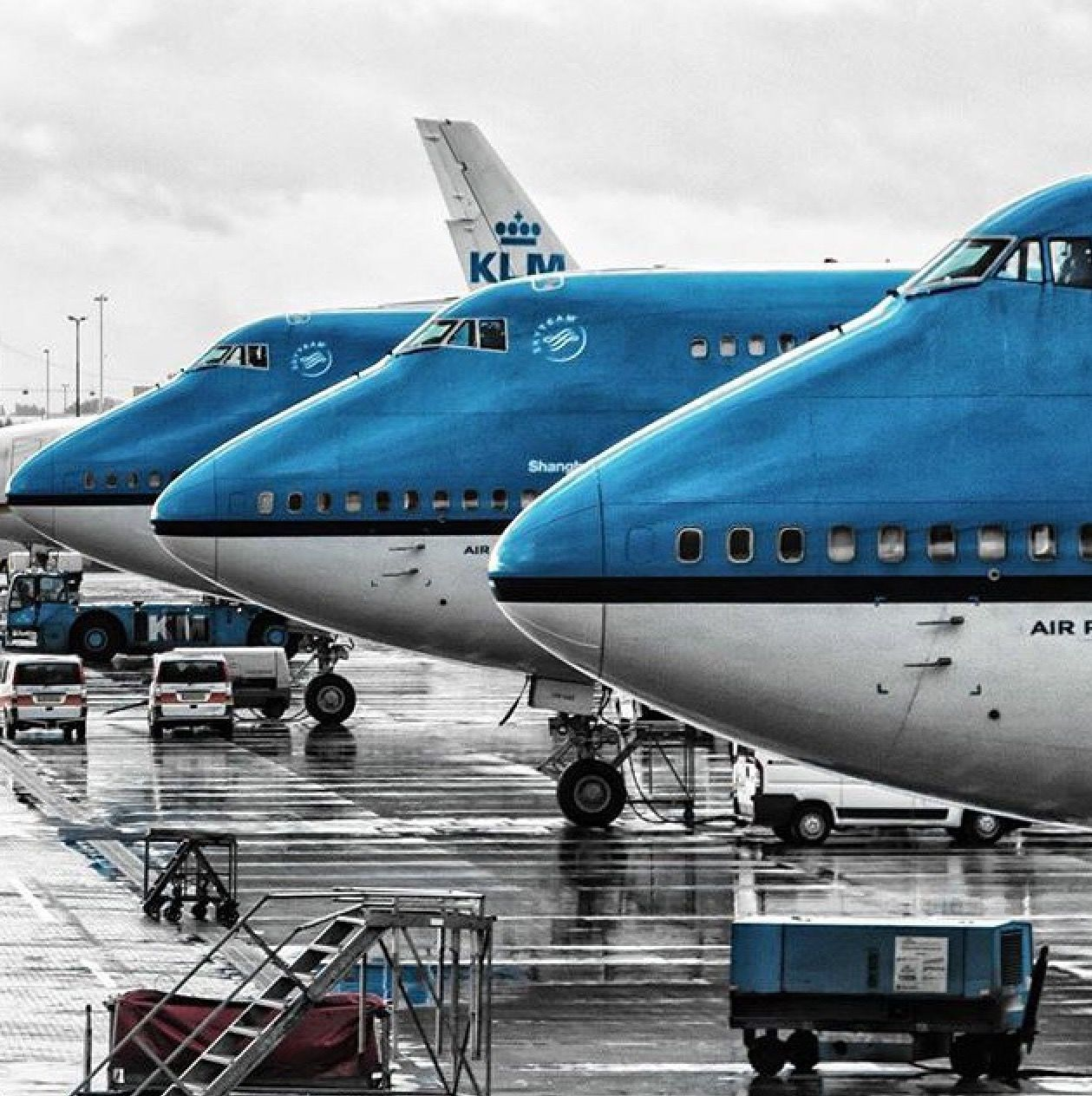 Three Klm Boeing 747 400s Aviation Airplane Klm Royal Dutch Airlines Aircraft