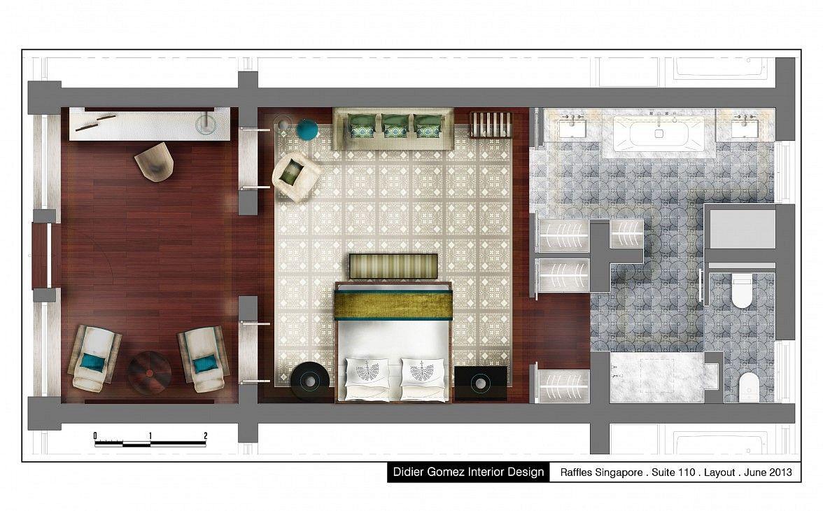 Raffles Hotel Singapore Competition Plan Interior