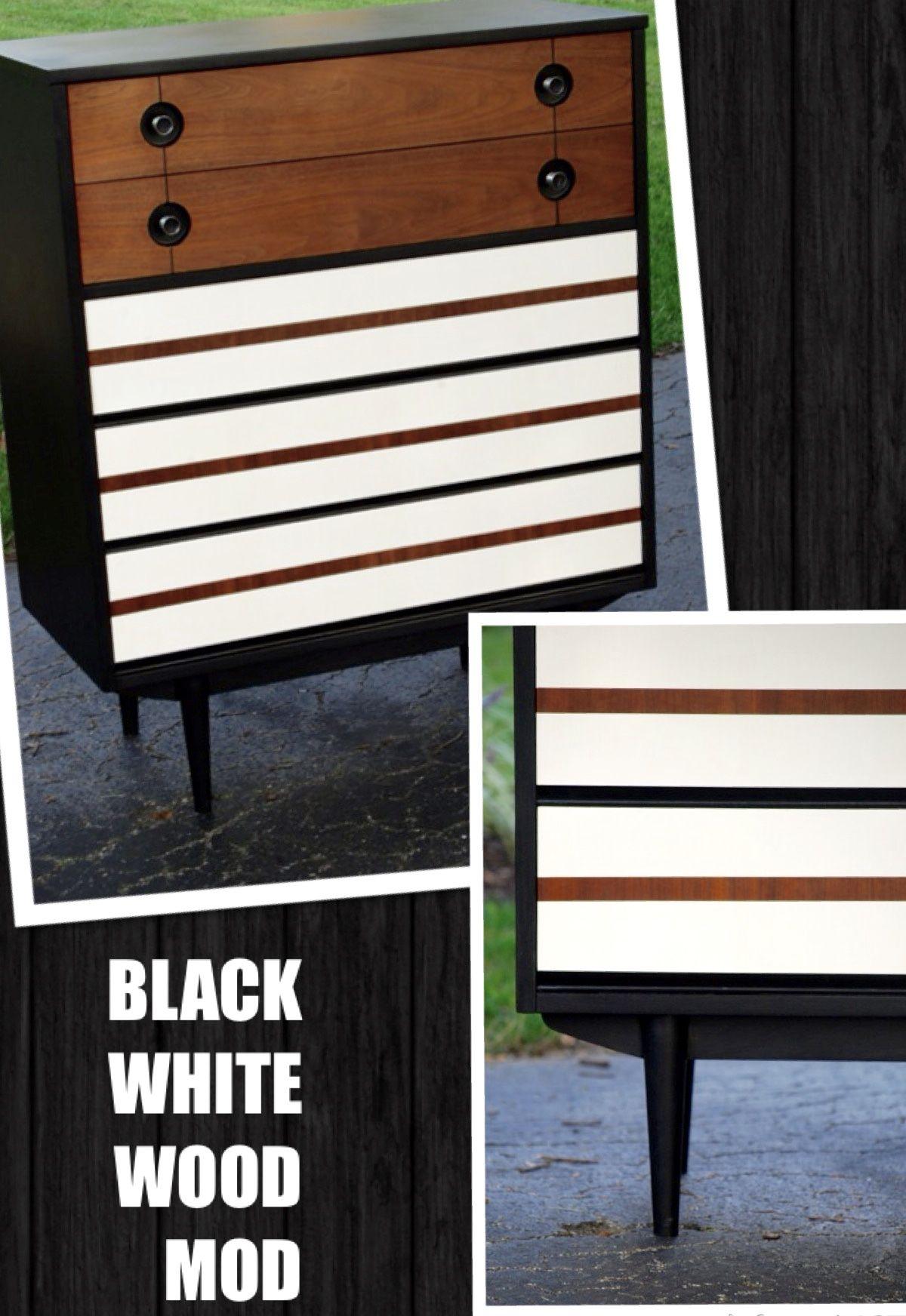 Mid Century Modern Black White Revealed Wood Stripes Furniture