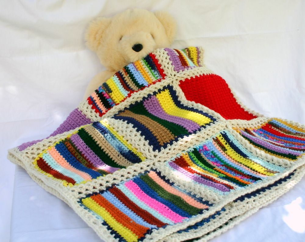 Scrap yarn crochet afghan blanket aran border colorful squares ...