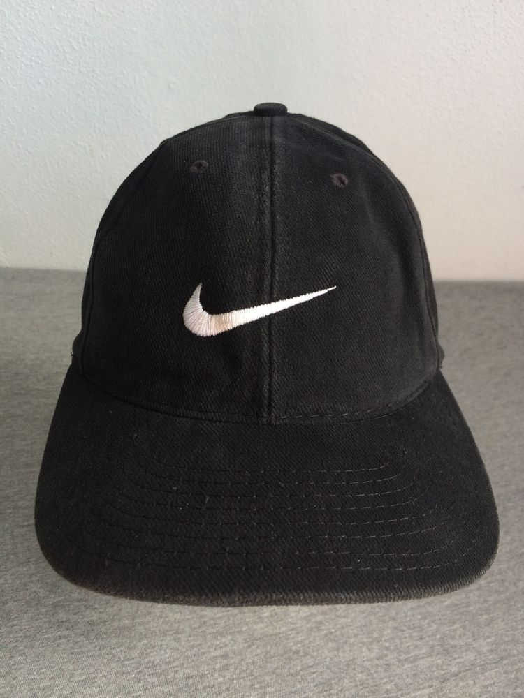 484a8bcd586 NIKE Hat 90s Vintage Black Baseball Cap 100% Cotton Adjust USA EXCELLENT  Rare!  Nike  BaseballCap