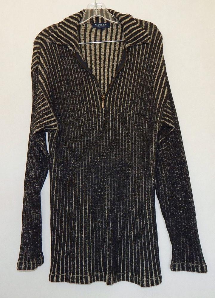 GUESS CLASSICS Men's Black Tan Ribbed Zip Neck Long Sleeve Sweater - Size L #GUESS #12Zip