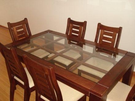Fotos de comedor sin uso madera y vidrio 6 sillas santiago for Comedores de madera con cristal