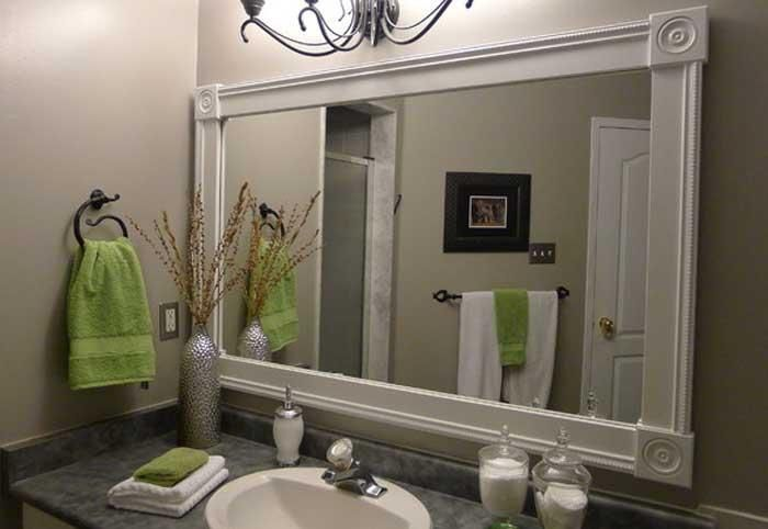 Bathroom Mirrors, White And Cute Ideas For Framing A Large Bathroom