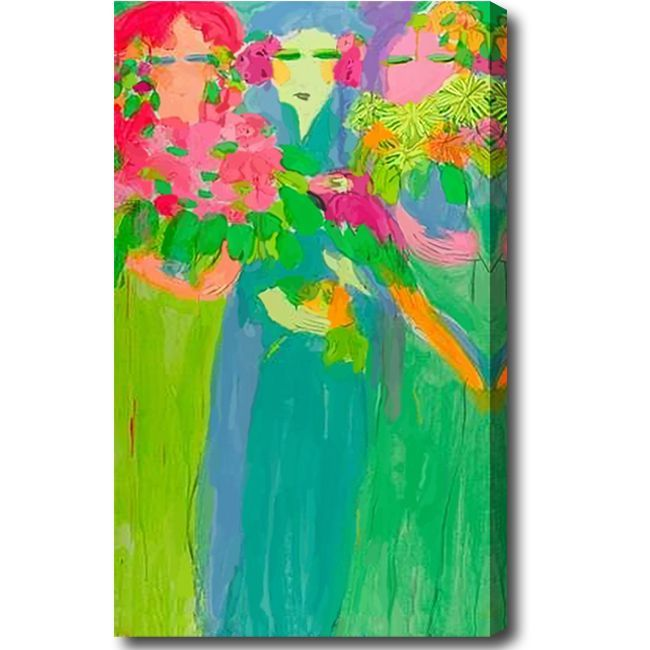 'Girls with Flowers' tract Oil on Canvas Art