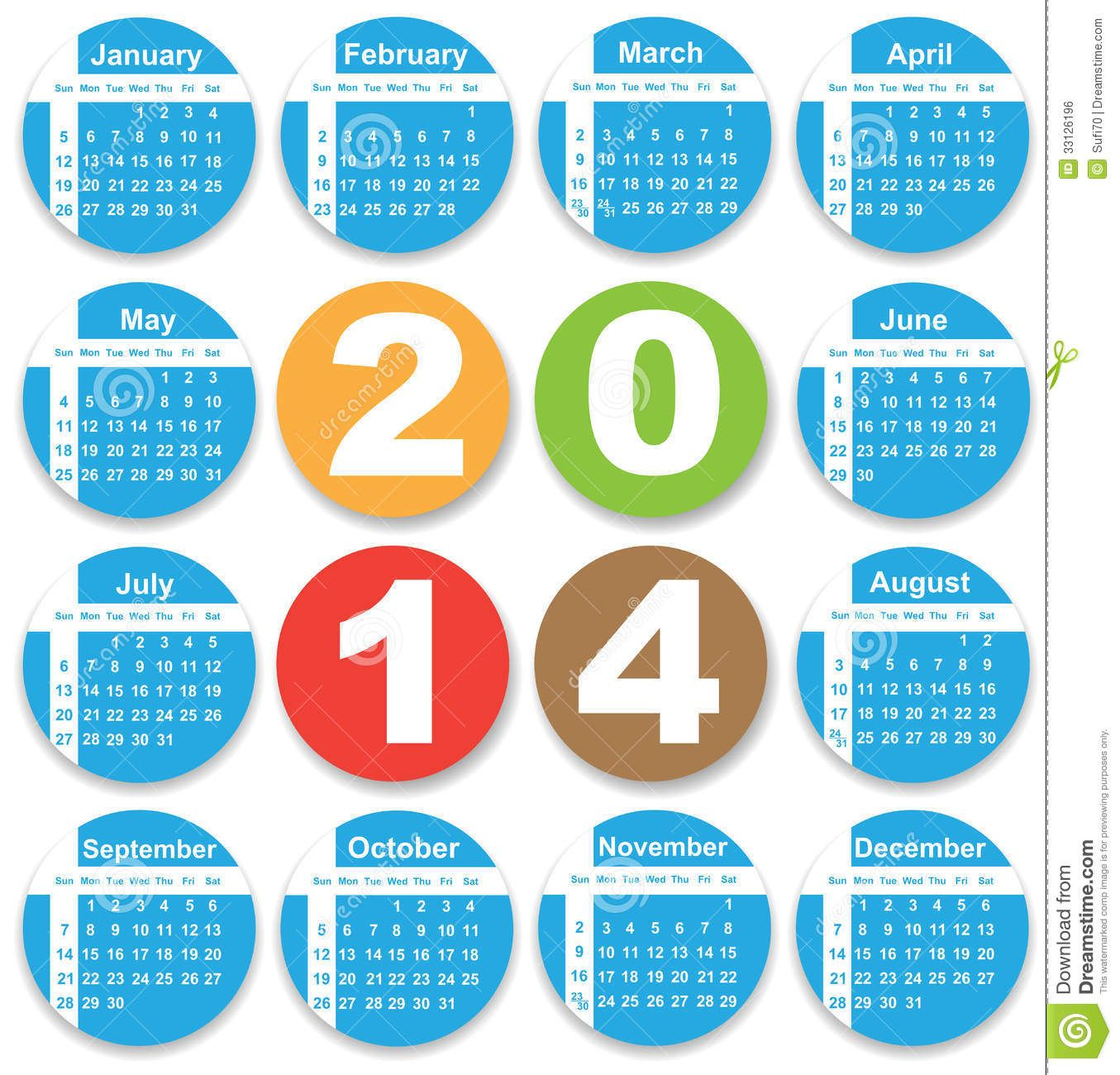 Annual Calendar Design For 2014 Royalty Free Stock Image - Image .