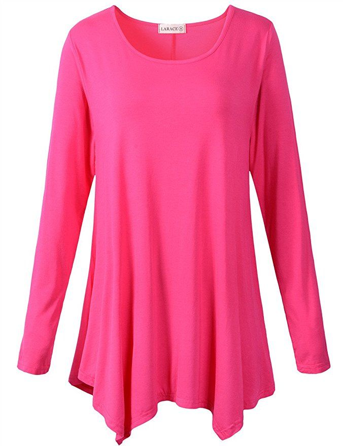 857d892bf29 LARACE Womens Long Sleeve Flattering Comfy Tunic Loose Fit Flowy Top at  Amazon Women's Clothing store: