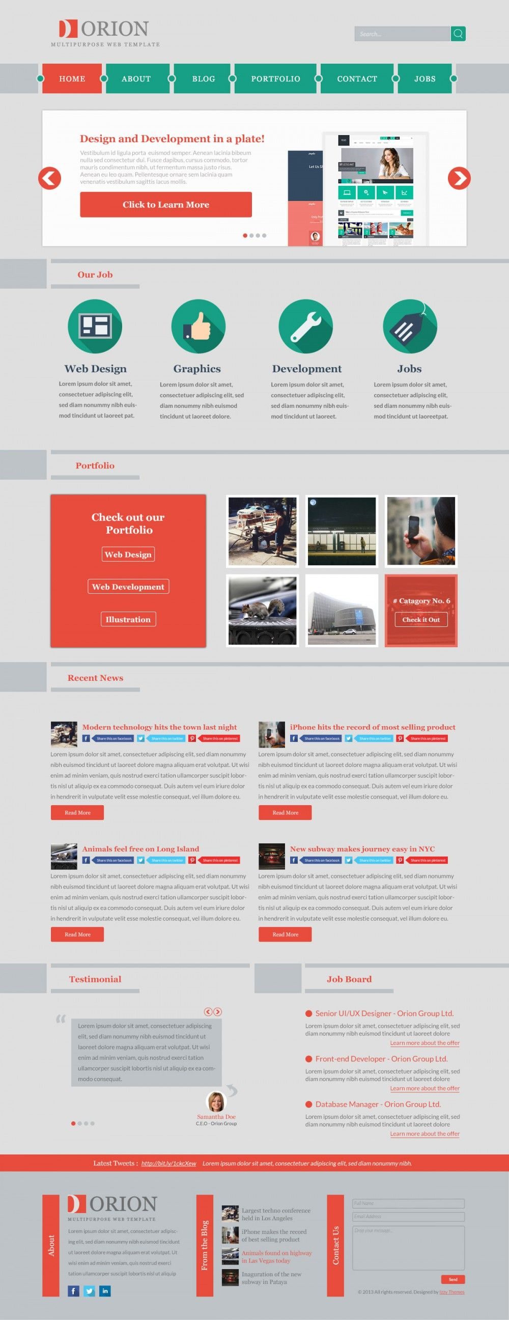 Orion Free Multipurpose Web Template, #Blog, #Flat, #Free, #Layout ...