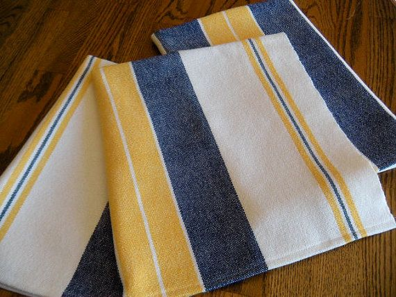 Handwoven Swedish Inspired Kitchen Towel Yellow And Blue Towel