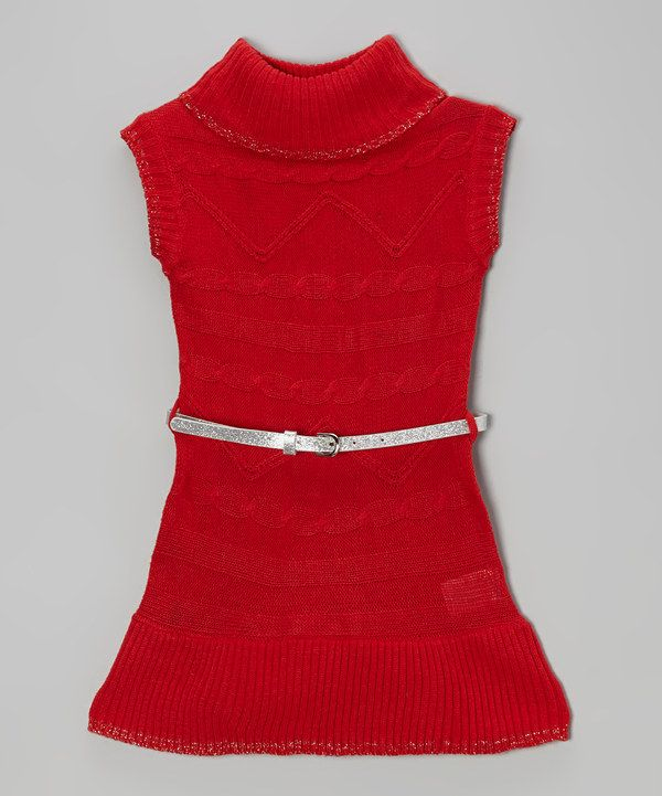 Take a look at this Red Belted Sweater Dress - Girls on zulily today!