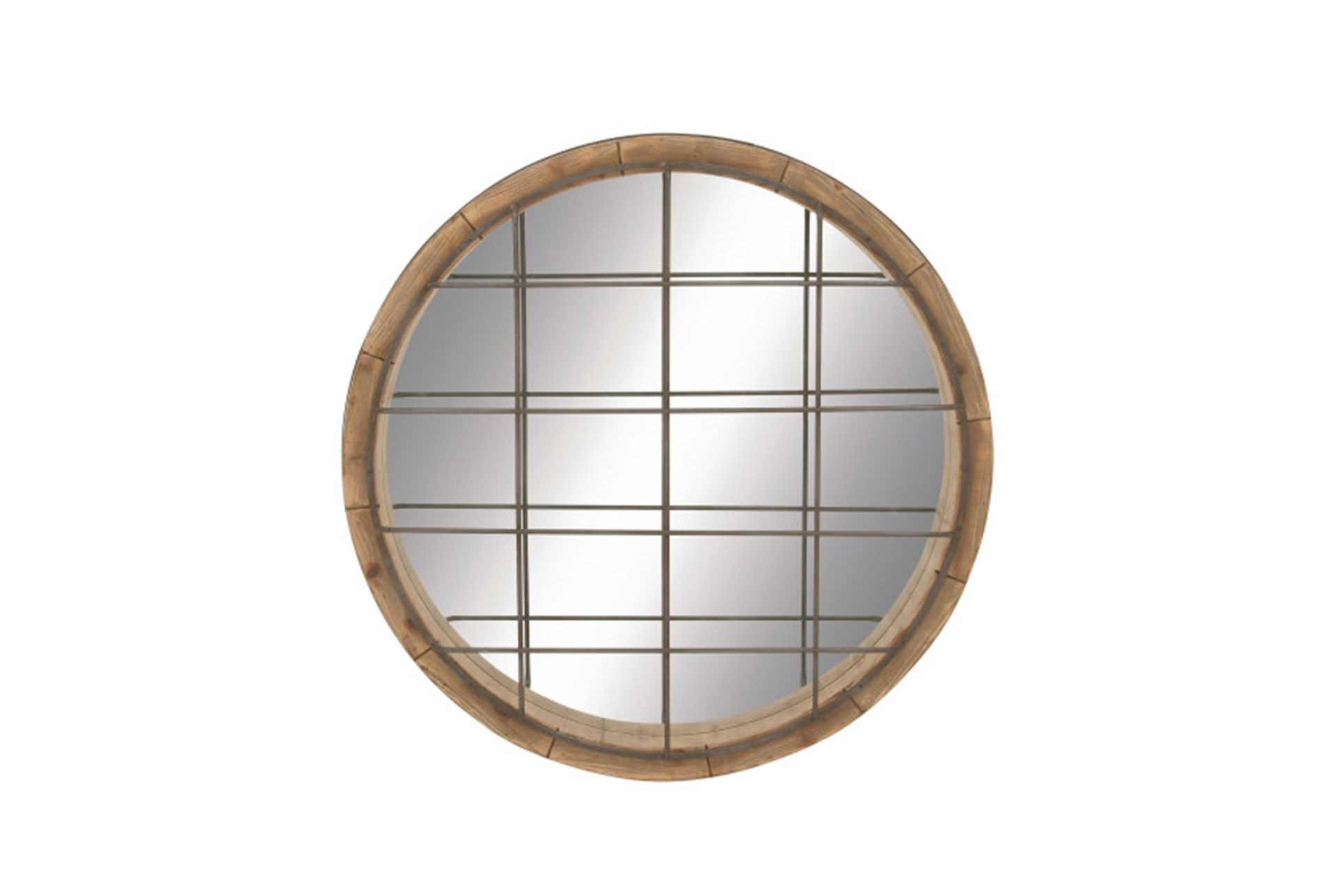 Shop For 48 Inch Wood Metal Grid Wall Mirror At Livingspaces Com Enjoy Free Store Pick Up Same Day Industrial Wall Mirrors Mirror Wall Wall Mirrors Entryway