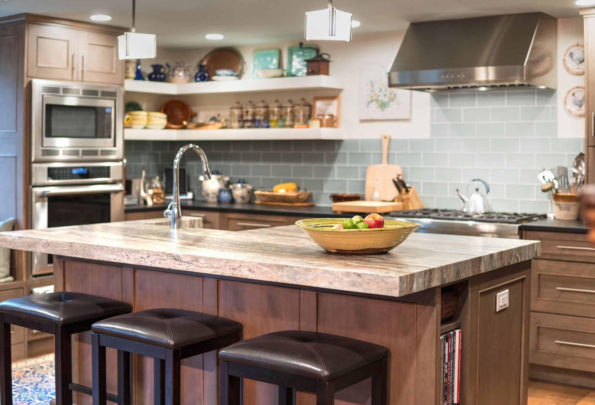 This beautiful transitional kitchen features UltraCraft Cabinetry's Lauderdale door style in Red Birch with Storm Grey stain and all-plywood box construction.   Designed by: Gail O'Rourke (Instagram @gail_gobig) of White Wood Kitchens (Instagram @whitewoodkitchens) in Sandwich, MA. Photographer: Robert Scott Button (Instagram @robertscottbutton).  #cabinets #cabinetry #redbirch #birchcabinets #greystain #graystain #ultracraft #ultracraftcabinetry #kitchen #kitchendesign