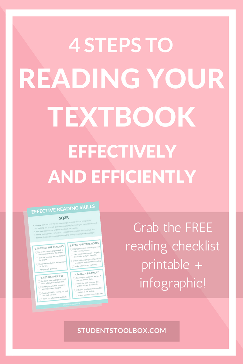 4 Steps To Reading Your Textbook Efficiently Students Toolbox Textbook Study Skills College Textbook [ 1200 x 800 Pixel ]