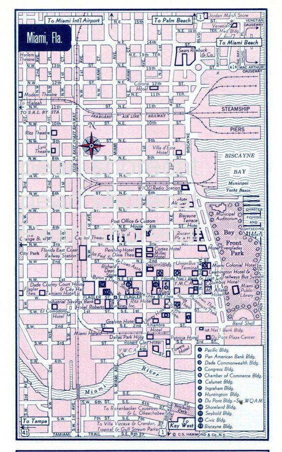 1960s pink retro miami florida city street map vintage