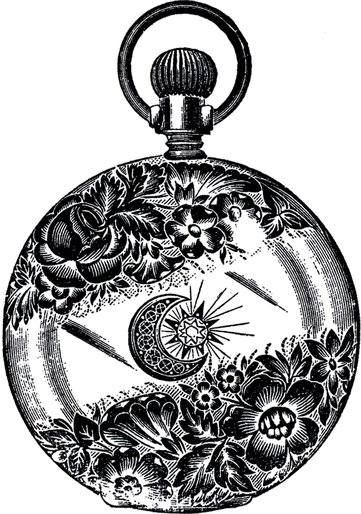 Public Domain Pocket Watch Image Fancy! Graphics fairy