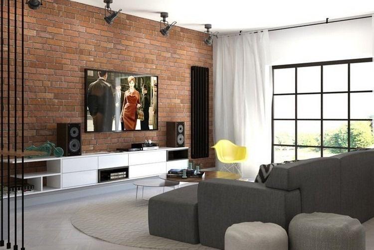 Ein Modernes Wohnzimmer Mit Dunklem Sofa 55 Einrichtungsideen