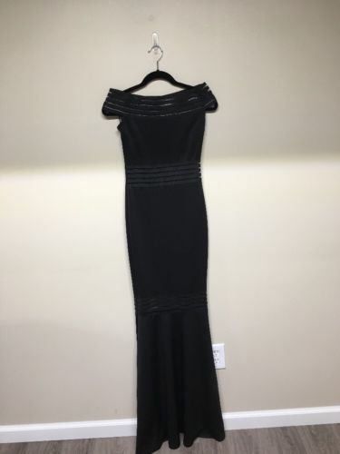 Jovani Inspired Black Evening Gown Off Shoulder Dress Nwot Size 12
