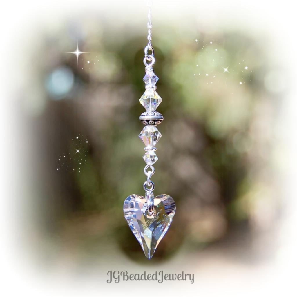 c3c2795e203125 Clear Swarovski Crystal Heart Suncatcher #rearviewmirror #Swarovski #Crystal  #Heart #JGBeads