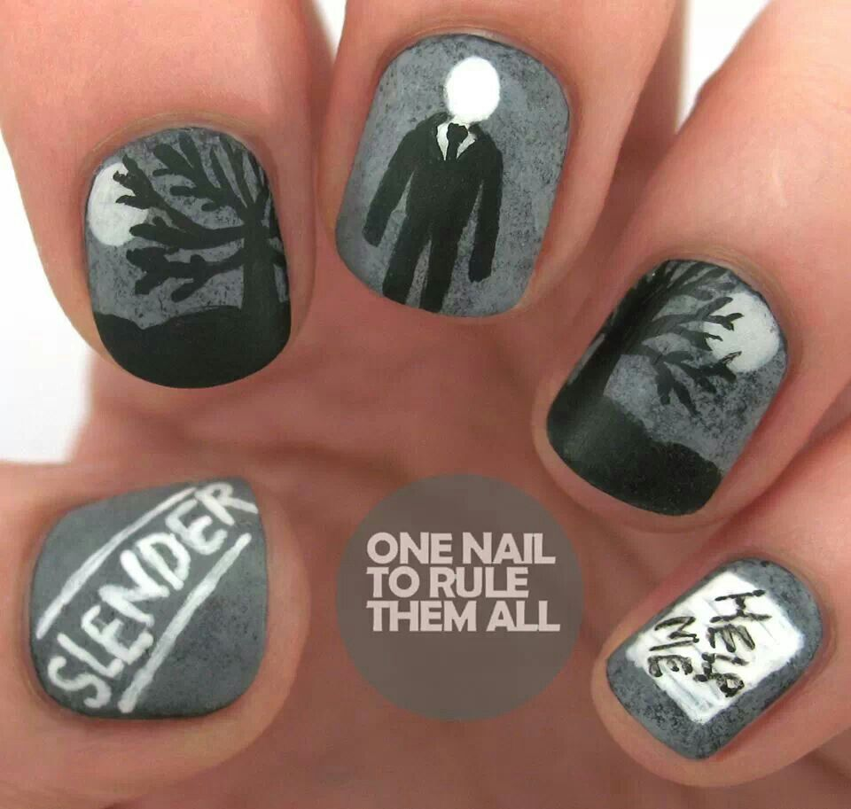 Slenderman nails.... Although I\'m not crazy about paint on my nails ...