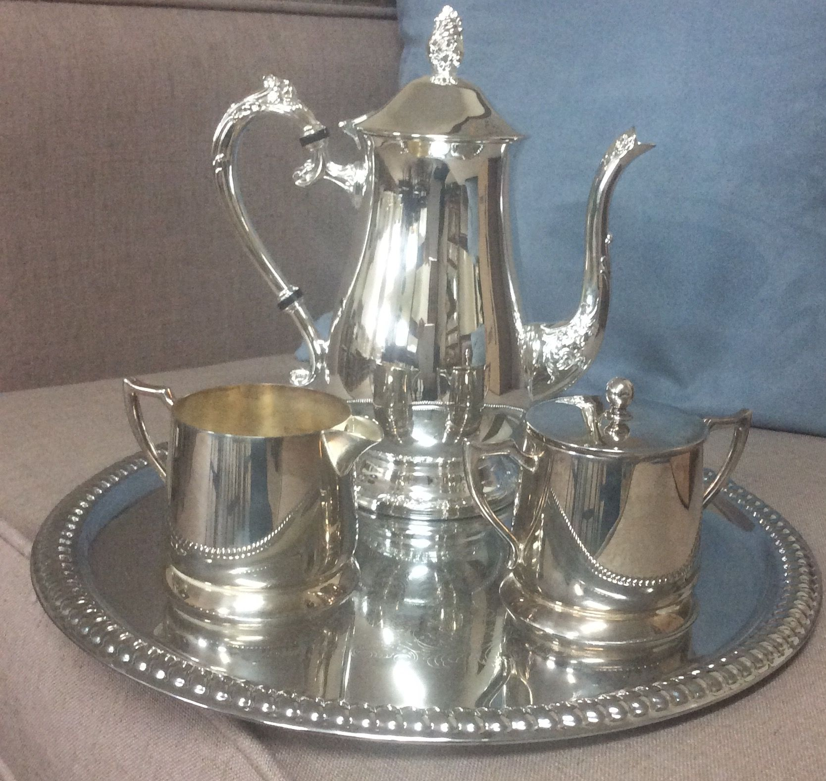 Silver plate coffee serving pot , creamer and sugar