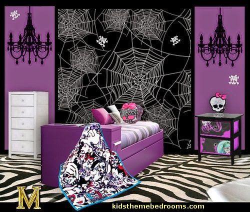 Monster High Theme Bedroom Skulls Decorating Ideas Maries Manor Theme Bedrooms Monster High Bedroom Bedroom Themes Monster High Room
