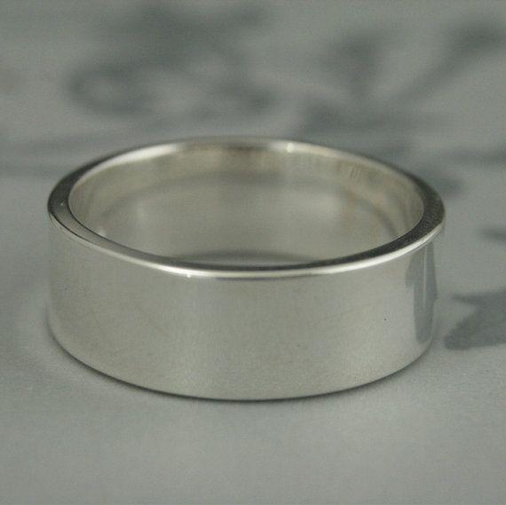 Band Mens Wedding Ring 8mm Wide Band Flat Edge Ring Silver Etsy Wedding Rings 8mm Men S Wedding Ring Silver Wedding Bands