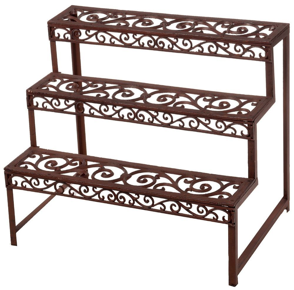 Etagere Plant Rack Stand Cast Iron 3 Shelves Garden Indoor Outdoor Metal