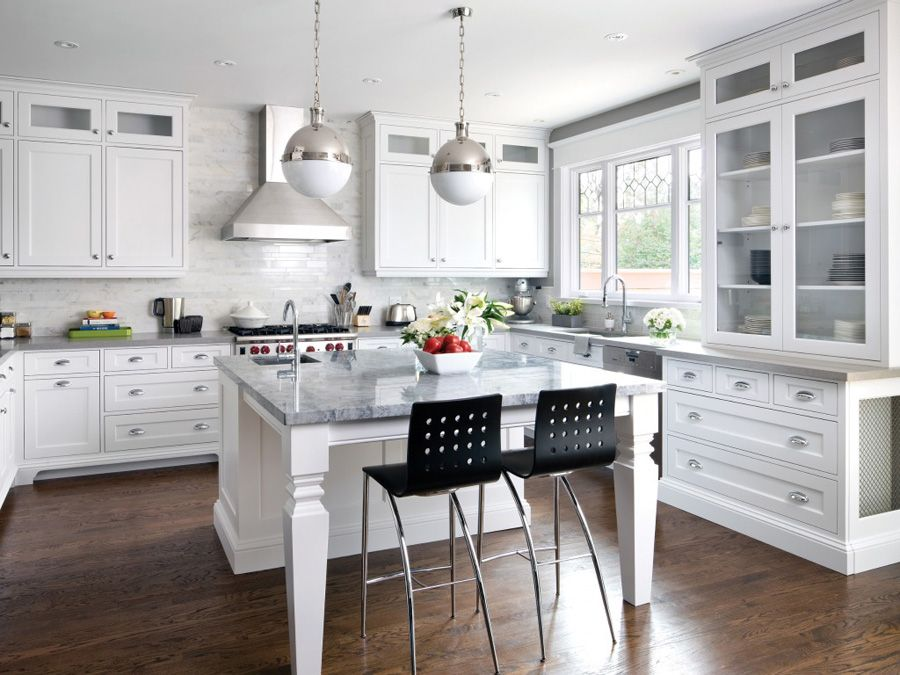 Remarkable Large U Shaped Kitchen With Island And Chrome Globe Pendant Light Also White Marbl Large Kitchen Design Contemporary Kitchen Large U Shaped Kitchens