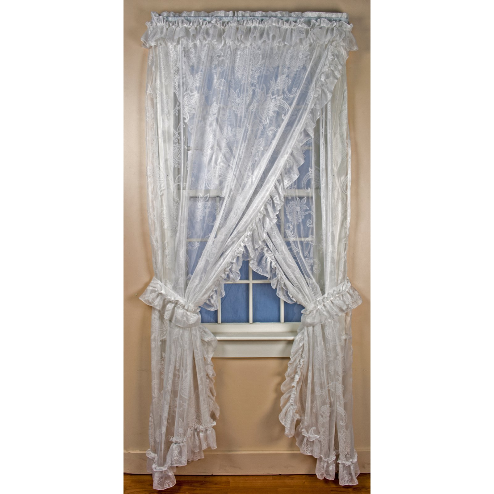 Ellis Curtain Beverly Lace Ruffled Priscilla Curtain Panel Set