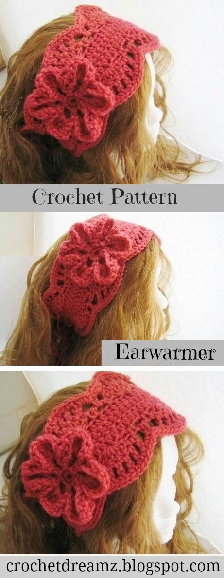 Lacy Ear Warmer ( pdf pattern for sale) | Pinterest | Diademas ...