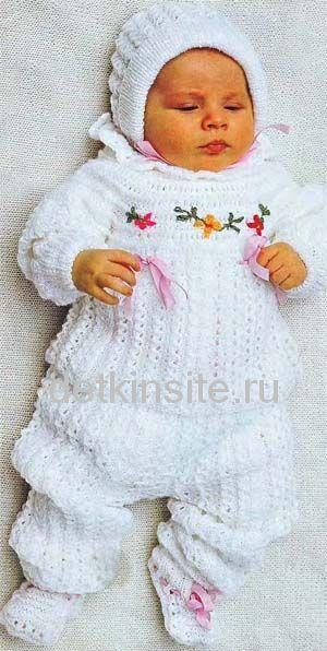 Вяжем для новорожденного 0-3 месяцев: костюмы спицами, идеи 97