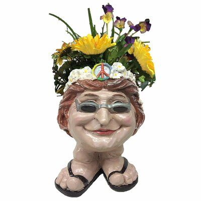 Ebern Designs Daryll Hippie Chick Flower Child Janice Face Groovy 1960's Attire Resin Statue Planter #patiodepapas