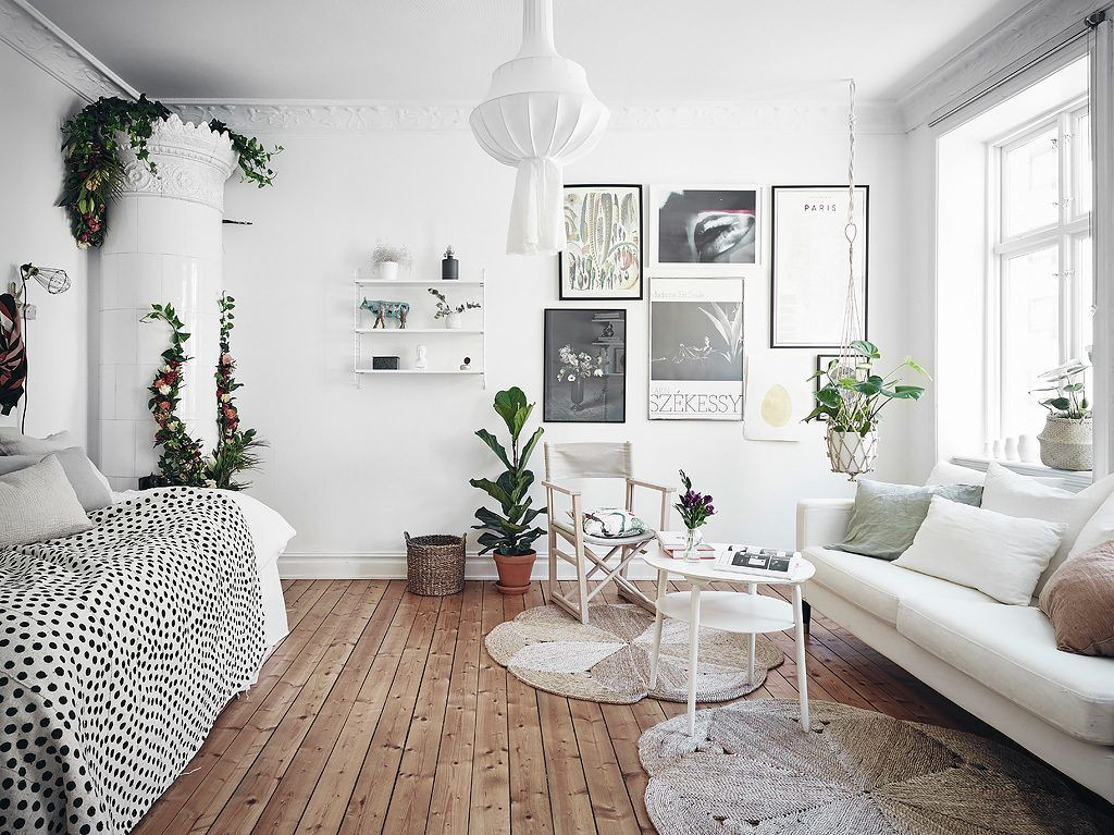 Gravity Home Plant Filled Studio Apartment Small Apartment Decorating Apartment Decor Inspiration Small Room Design