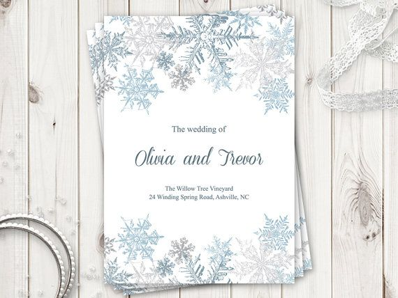 winter wedding program template snowflakes silver printable