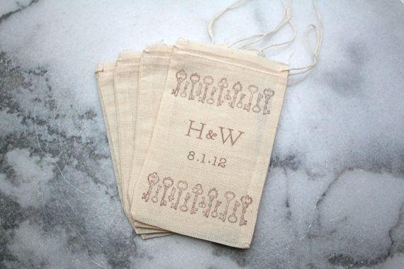 skeleton key favor bags - handmade wedding (by clemetine weddings via emmaline bride)