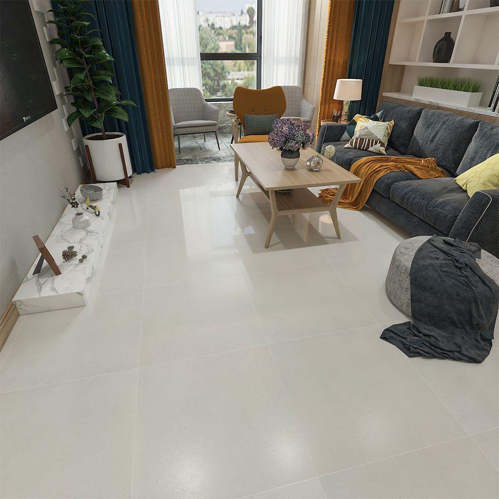 Beige 600 X 600mm Polished Ceramic Floor Tile Living Room Tiles Tile Floor Living Room House Floor Design Living room tile flooring
