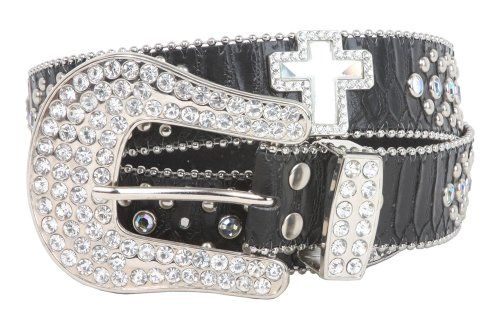 Snap on Rhinestone Square Ornaments Alligator Print Genuine Leather Belt