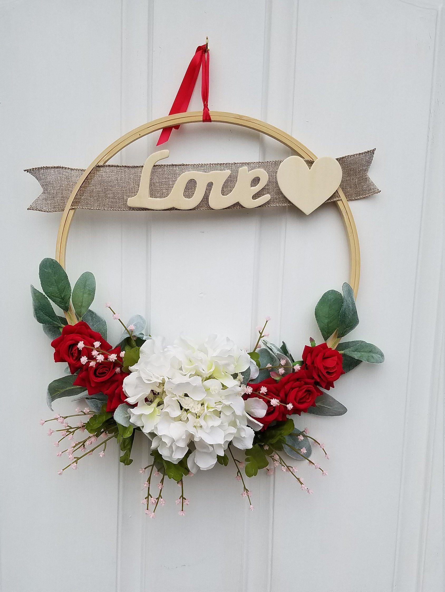 Photo of Valentine's  Wreath, Modern Wreath, Valentine's Day Decor, Hoop Wreath, Spring Door Decor, Embroidery Wreath