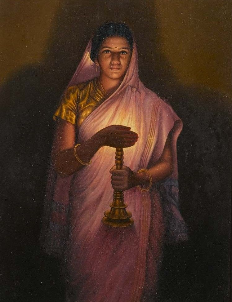 The 'Glow of Hope' is a painting by S.L. Haldankar. The