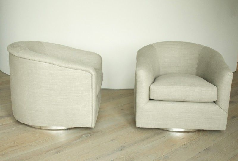 Pleasant Milo Baughman Pair Of Swivel Chairs In Linen Usa Ca Creativecarmelina Interior Chair Design Creativecarmelinacom