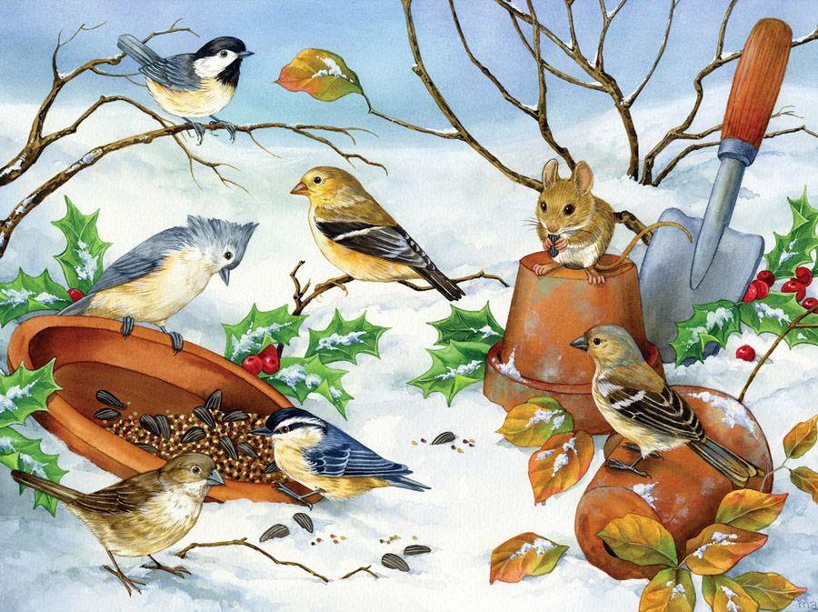Поздравления лет, картинки на тему птицы зимой