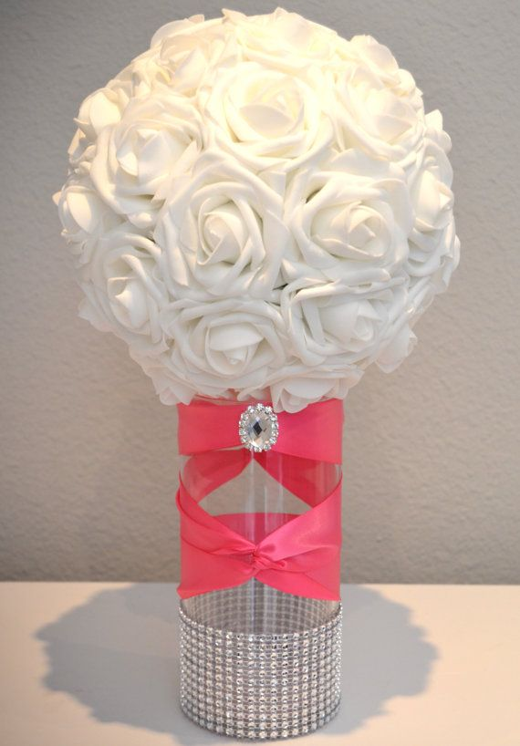 Fuchsia Hot Pink Rhinestone Vase With Large Bling Brooch Switchback