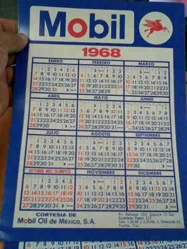 Calendario 1968.1969 Calendar Calendario 1968 O 1969 Mobil Coleccionable