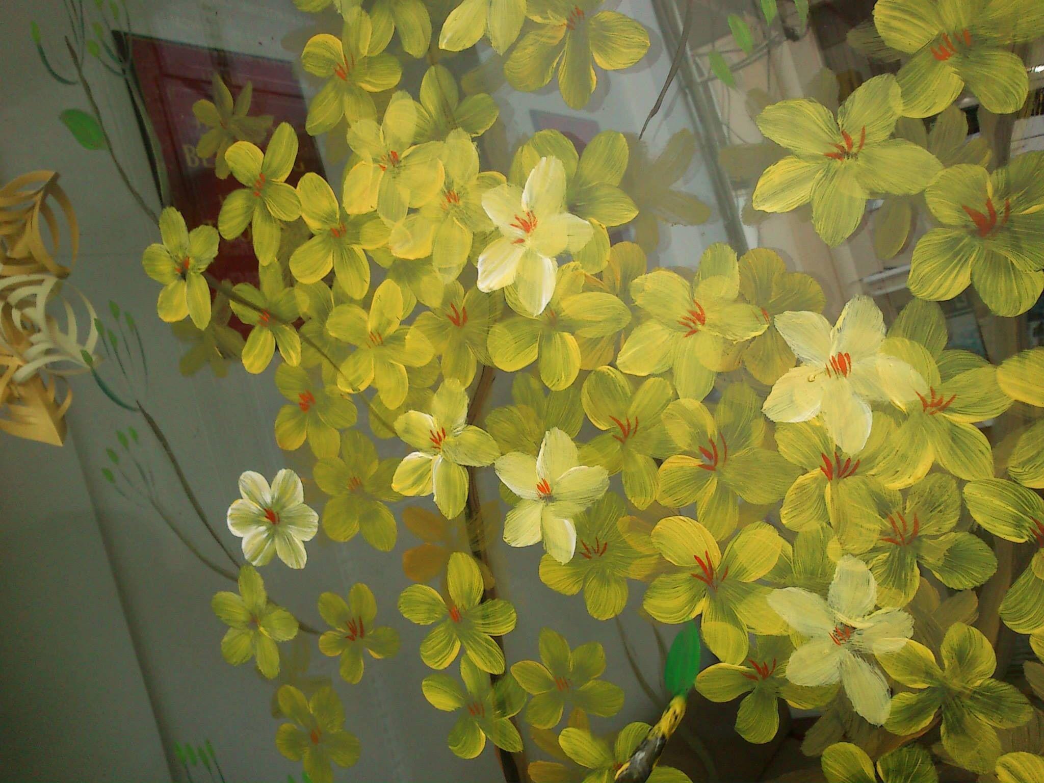 Vẽ tranh hoa mai hoa đào trên kính - Vẽ tranh tường L'art ...