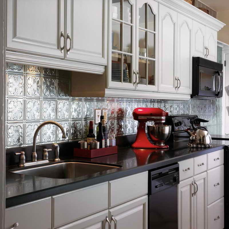 Red Kitchen Backsplash Ideas: White Kitchens With Tin Back Splash