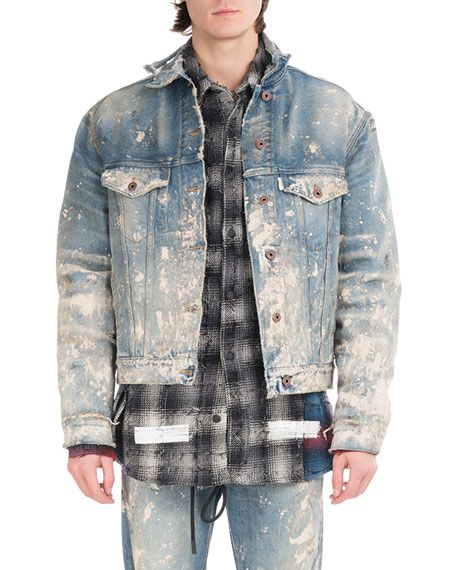 Off White Painted Splatter Oversized Denim Jacket Blue Off White Cloth Denim Farbe Jacken Jeansjacke