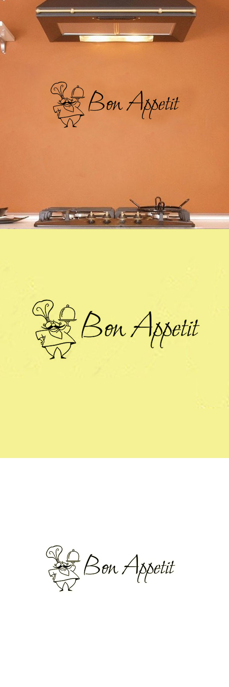 Bon Appetit Wall Sticker French A Chef Decorative Vinyl Wall Decals ...