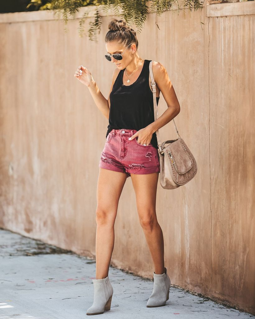 5850451a5b Click to shop our website or follow us at @VICIDOLLS for all the latest  updates + fashion inspo! Stagecoach Distressed Cuffed Denim Shorts -  Burgundy