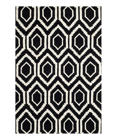 Look what I found on #zulily! Black & Ivory Teardrop Elsa Wool Rug #zulilyfinds