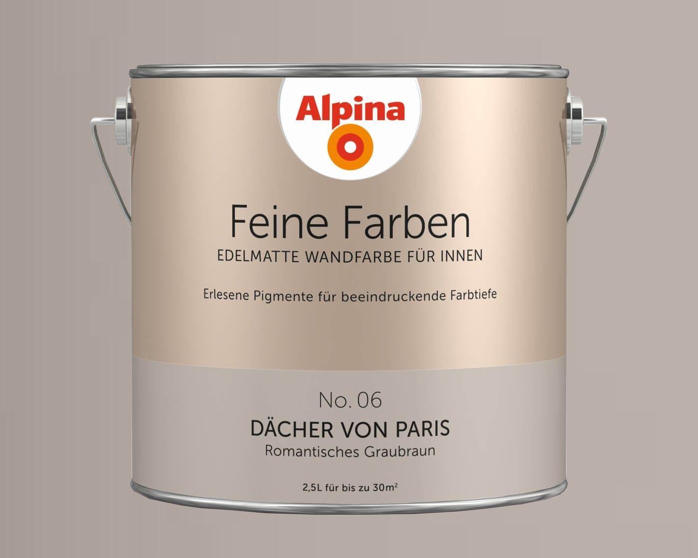 Alpina Feine Farben - Edelmatte Wandfarbe für Innen, alle Farbtöne, 2,5L Dose